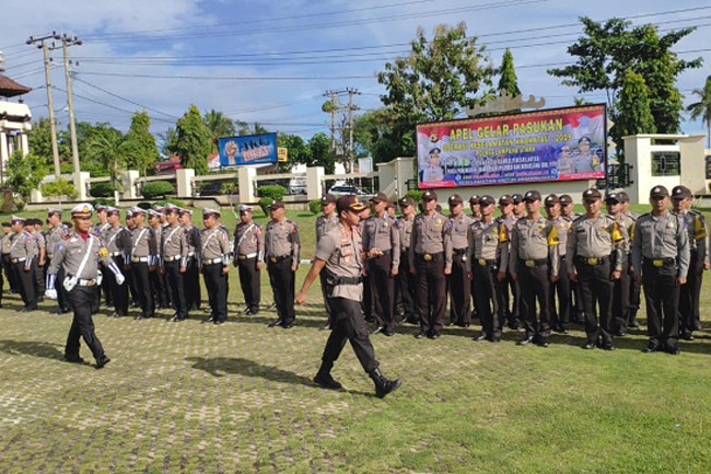 Polres Lampung Utara Apel Pasukan Ops Keselamatan Krakatau 2019