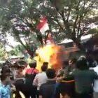 Aksi Unjuk Rasa di Cianjur Berakhir Panas, 3 Polisi Terbakar Api